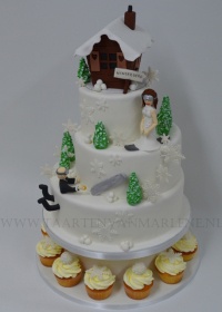 Winter thema bruidstaart