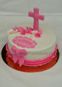 communie taart met kruis en strik
