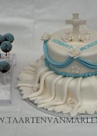 communie taart met cakepops